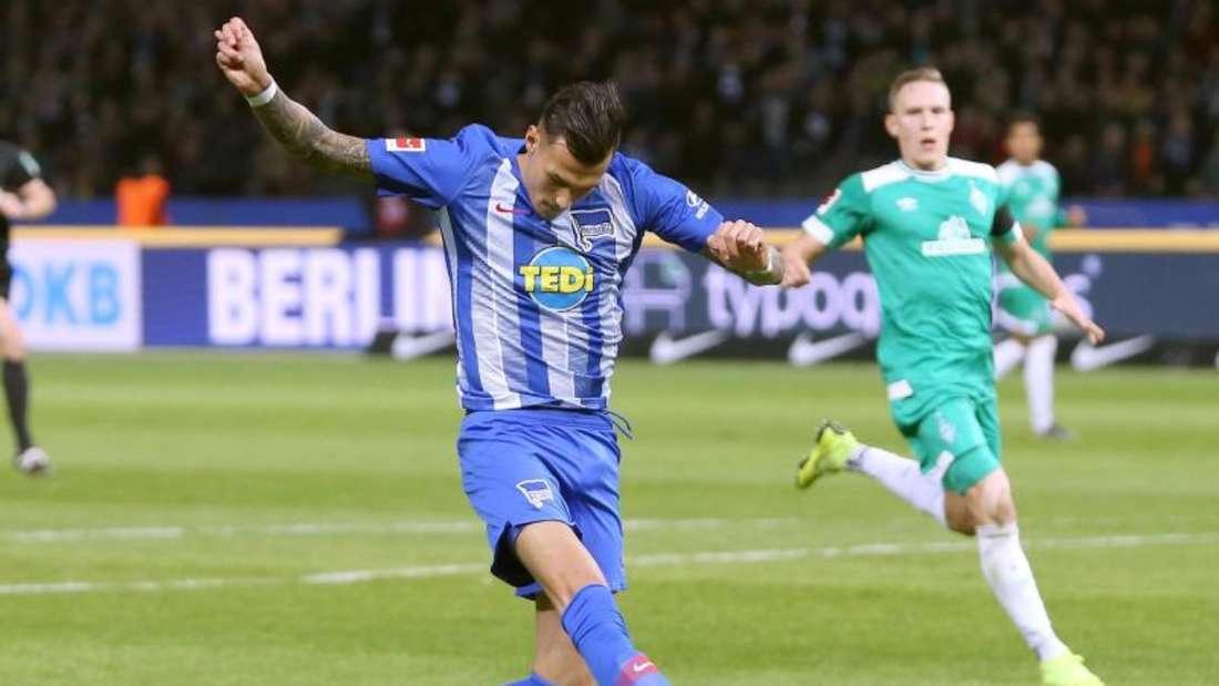 Trifft mit Hertha auf seinen Ex-Club Leipzig: Davie Selke. Foto: Andreas Gora/dpa