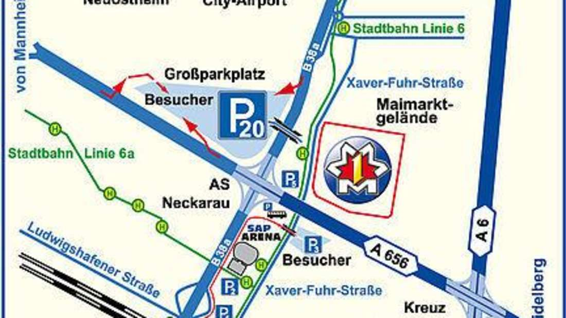 Anfahrtsplan und Parkplatzübersicht Mannheimer Maimarkt