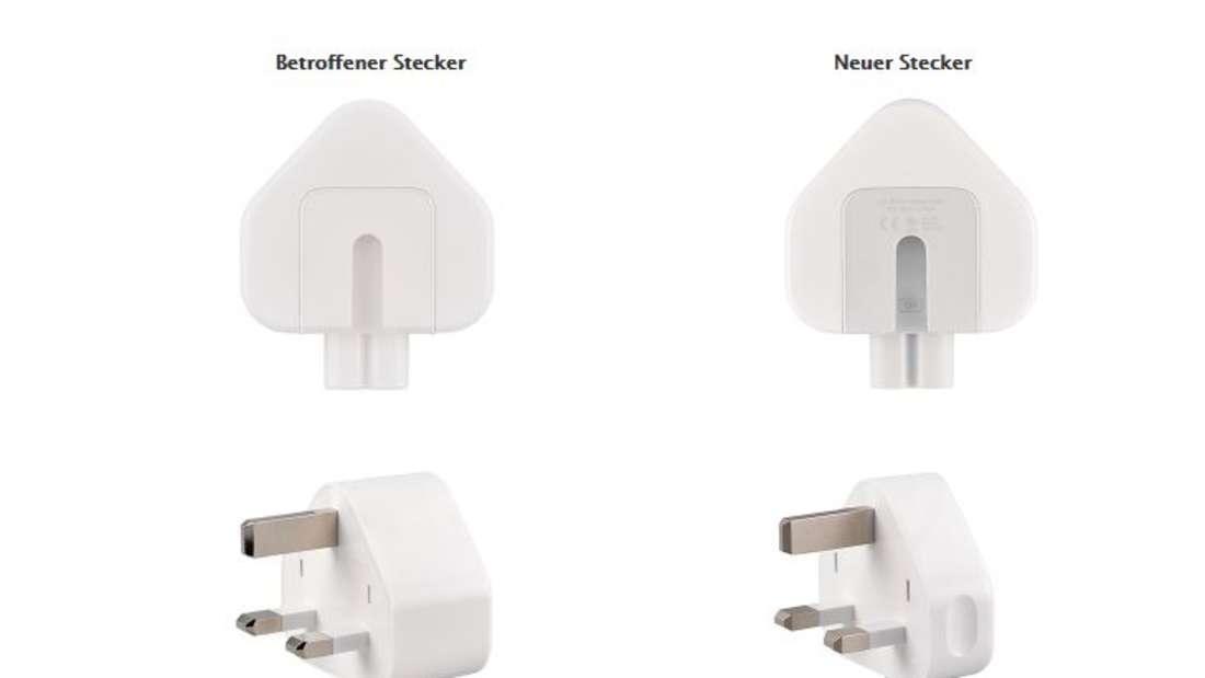 Links sehen Sie die betroffenen Stecker, rechts die neuen, nicht defekten.