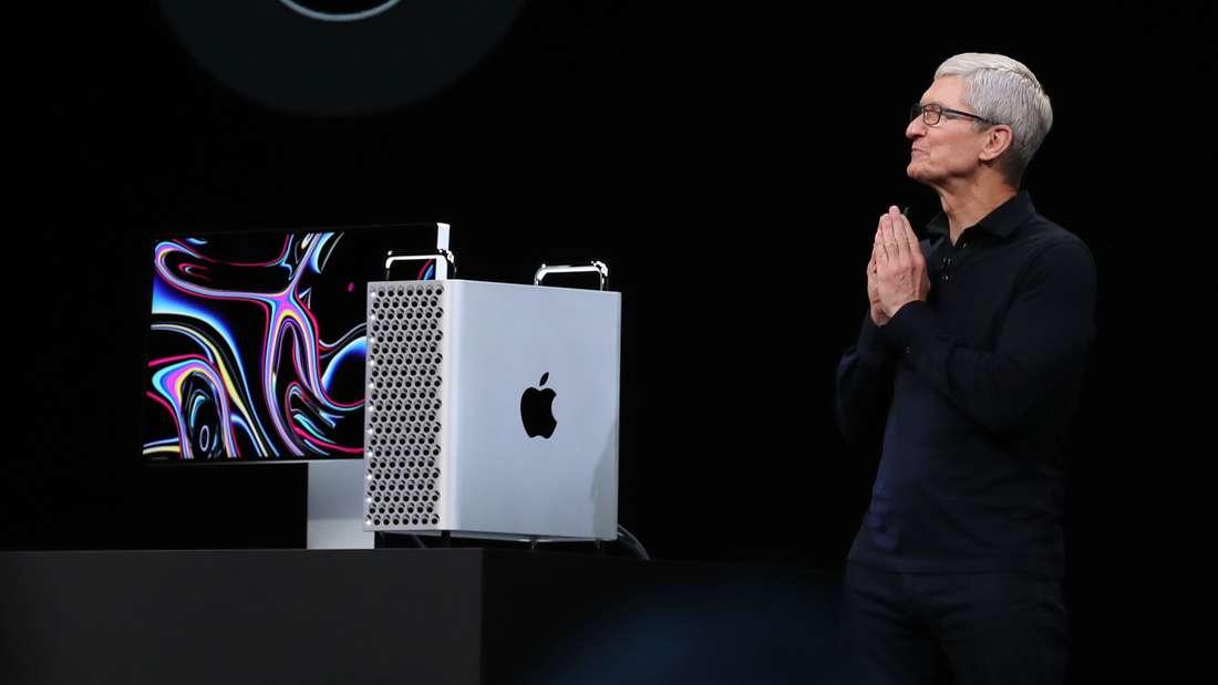 Auf der Keynote stellte Apple-Chef Tim Cook den neuen Mac Pro vor - das Design verblüfft ein wenig.