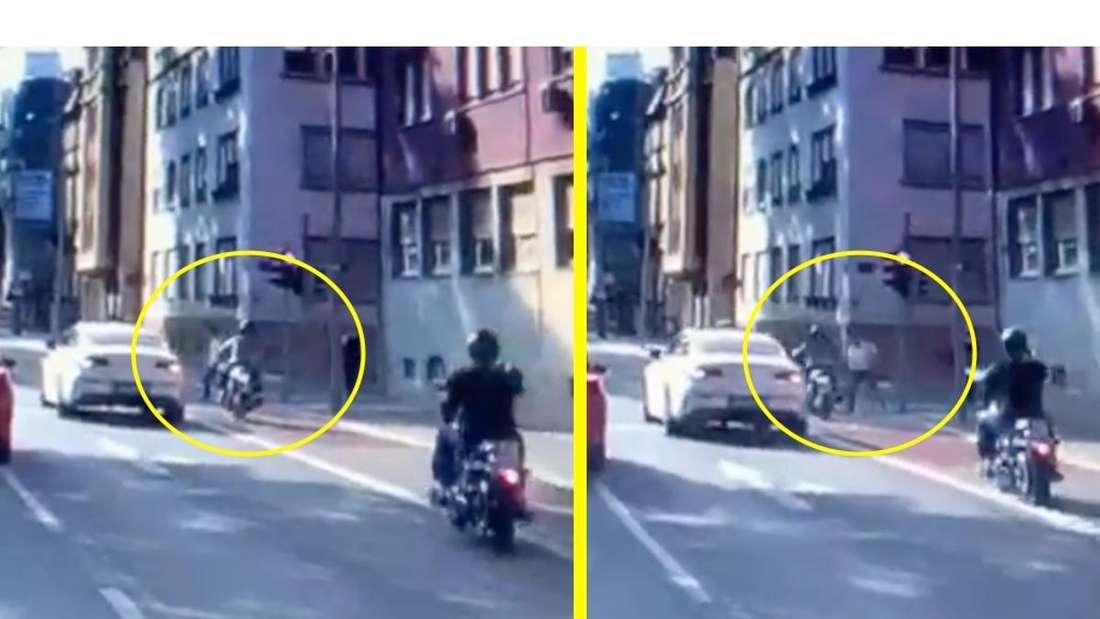 Der Fußgänger muss zurückspringen, um einen heftigen Unfall zu vermeiden.