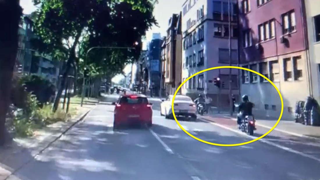 HIER fahren Biker beinahe einen Mann in Mannheim um