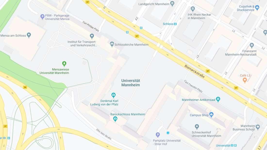 Parken, Lage und Übersicht Barockschloss Mannheim