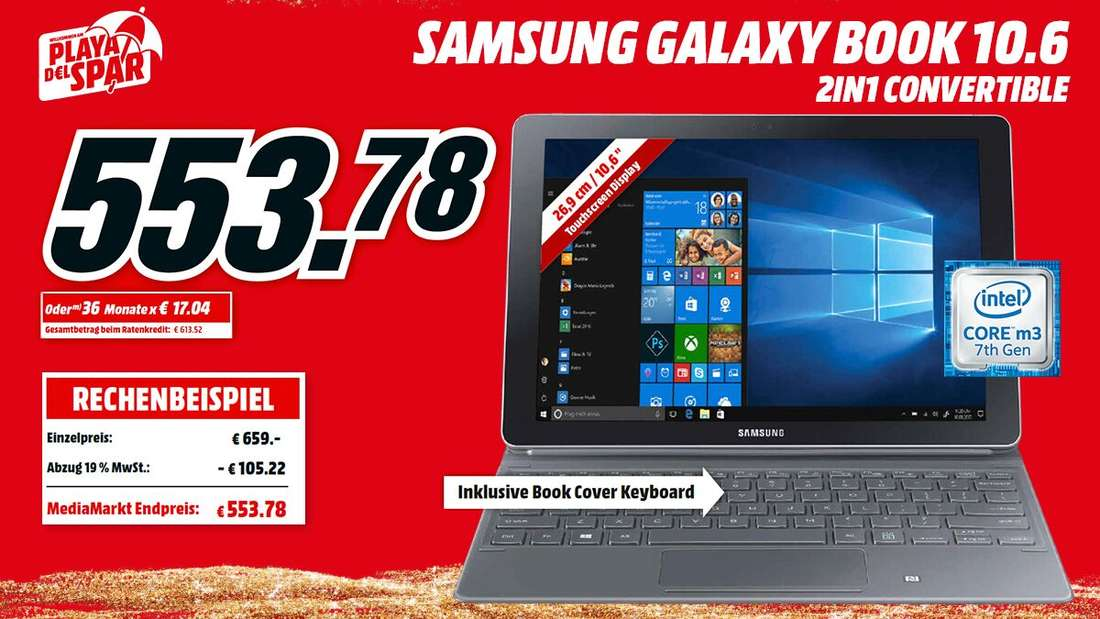 Beim Kauf des SAMSUNG Galaxy Book sparst Du 105,22 Euro.