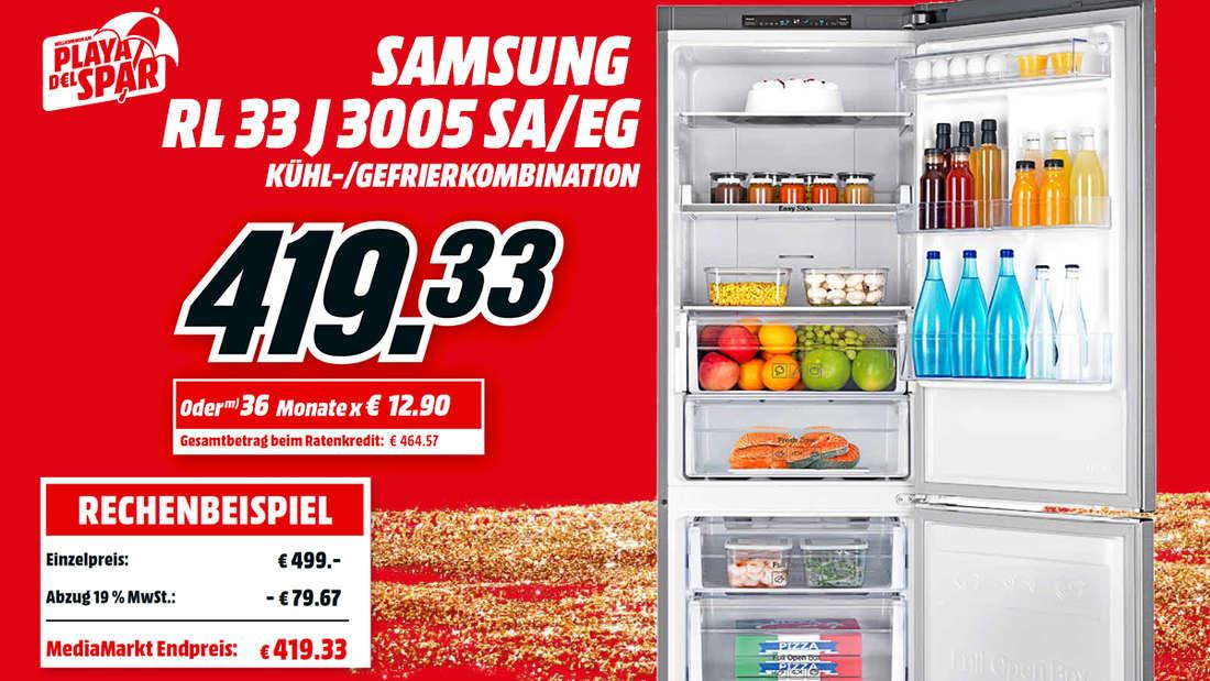 Mit diesem SAMSUNG Kühlschrank bleiben Deine Einkäufe auch bei hohen Temperaturen immer kühl.