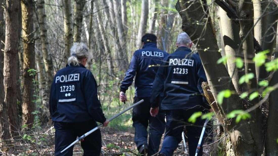 Polizisten suchen in einem Waldgebiet bei Brieselang nach Spuren der vermissten Georgine Krüger. Foto: Bernd Settnik/Archiv
