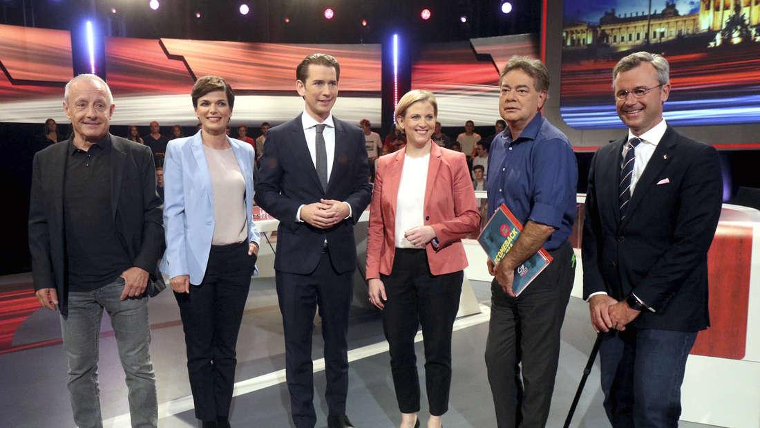 Spitzenkandidaten der Österreich-Wahl 2019: Von links Peter Pilz (Liste Jetzt), Pamela Rendi-Wagner (SPÖ), Sebastian Kurz (ÖVP), Beate Meinl-Reisinger (NEOS), Werner Kogler (Grüne) und Norbert Hofer (FPÖ).