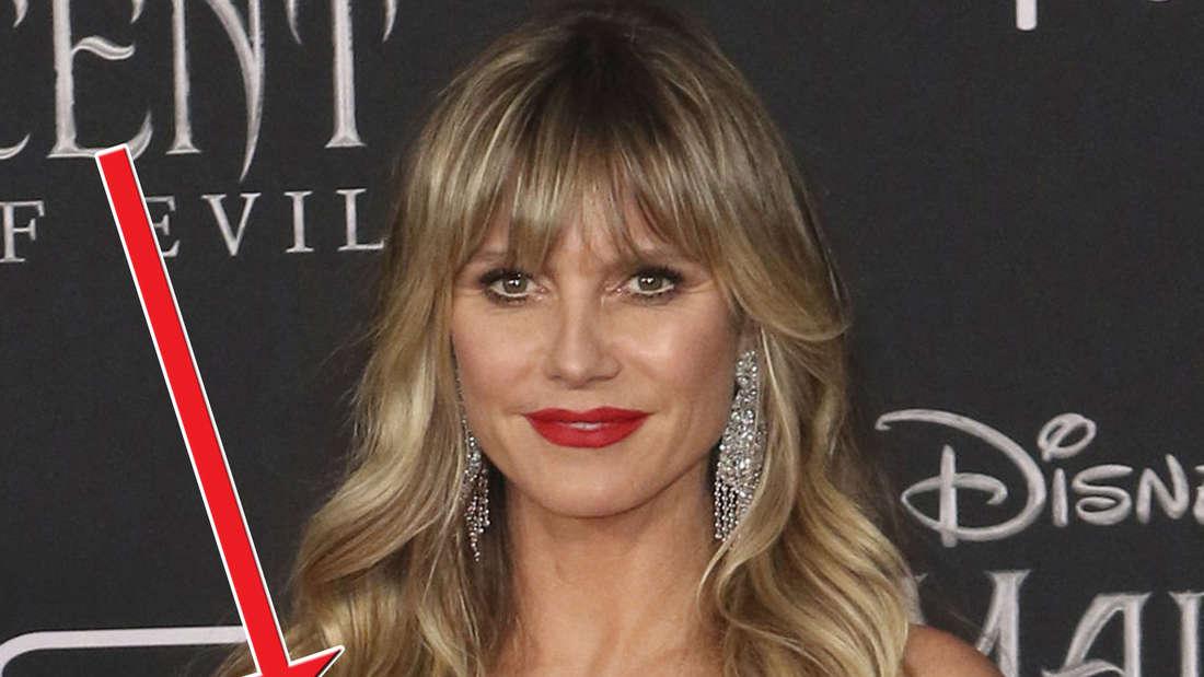"""Heidi Klum kam in einem knallroten Mini-Lederkleid zur Weltpremiere von""""Maleficent - Mistress of Evil""""."""