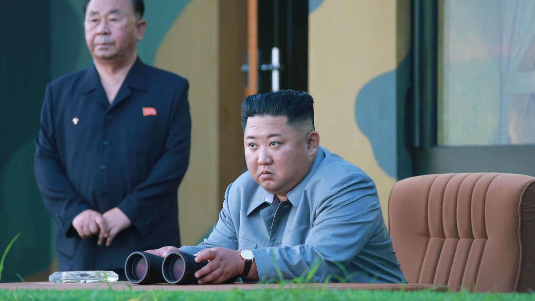 Kim Jong-Un bei einem Raketentest in Nordkorea.