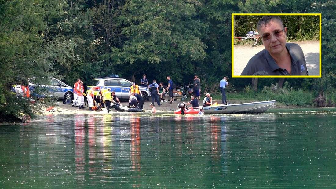 Einsatzkräfte suchen am Badesee Bensheim nach dem untergegangenen Mann.