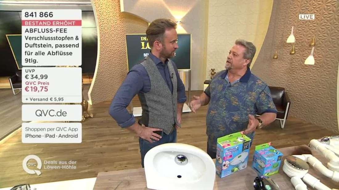 Der Eklat in der QVC-Sendung: Moderator Björn Gödde (links) und ErfinderKarl-Heinz Bilz.