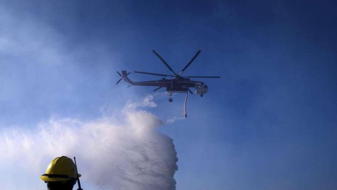 Ein Hubschrauber ist bei einem Waldbrand im Einsatz. Foto: Noah Berger/AP/dpa