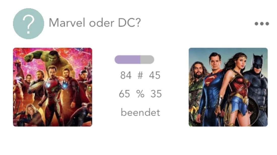 Auch wir haben die App getestet. Hier mit der Beispiel-Frage, ob man lieber Marvel oder DC mag.
