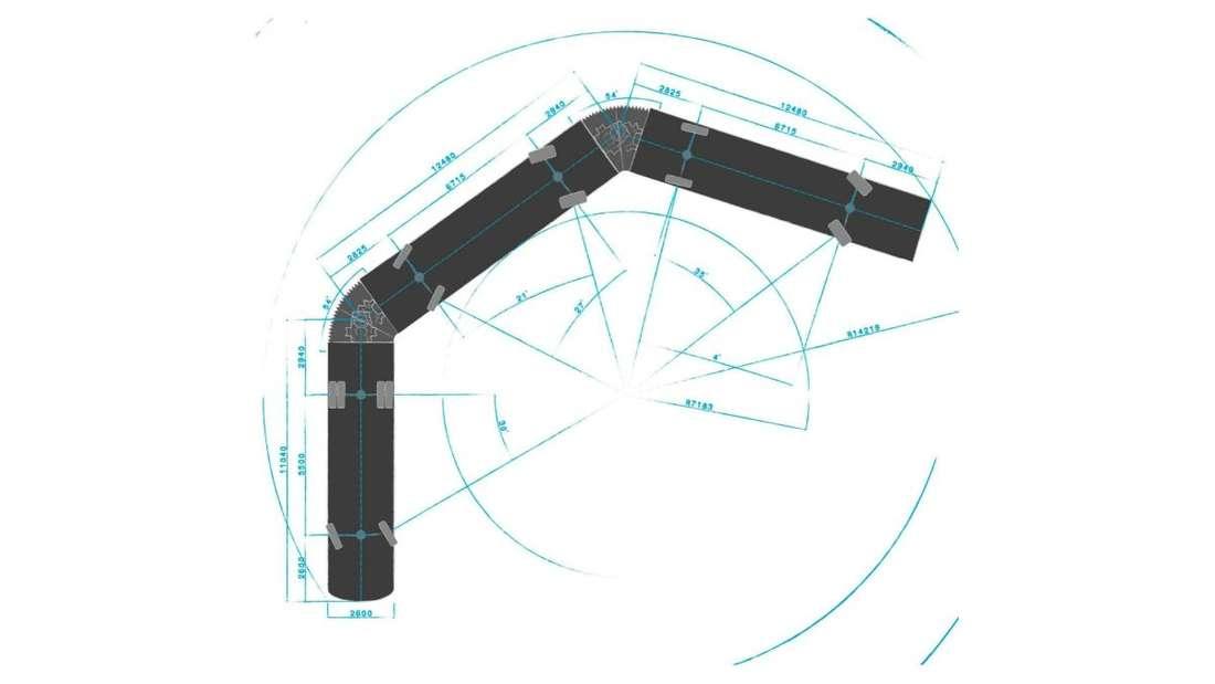 Hübner setzt verstärkt auf Fahrzeuge von über 30 Metern Länge wie auf dieser Zeichnung abgebildet.