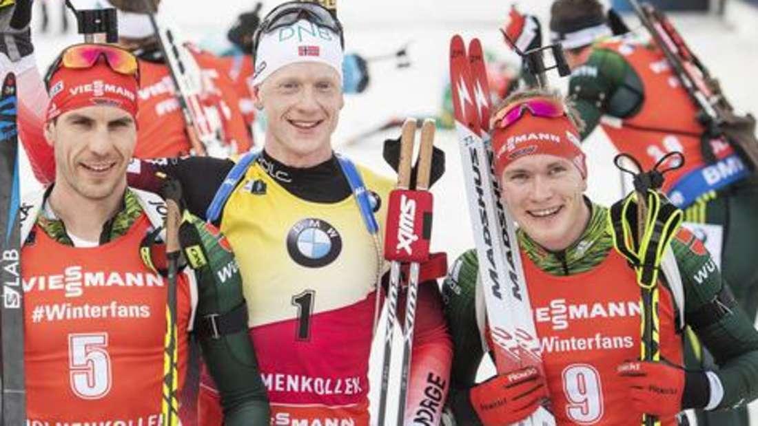 Biathlon: (von links) Arnd Peiffer, Johannes Thignes Boe und Benedikt Doll bejubeln ihre Podestplätze in Oslo, wo auch im Weltcup 2019/20 das Saisonfinale steigt.