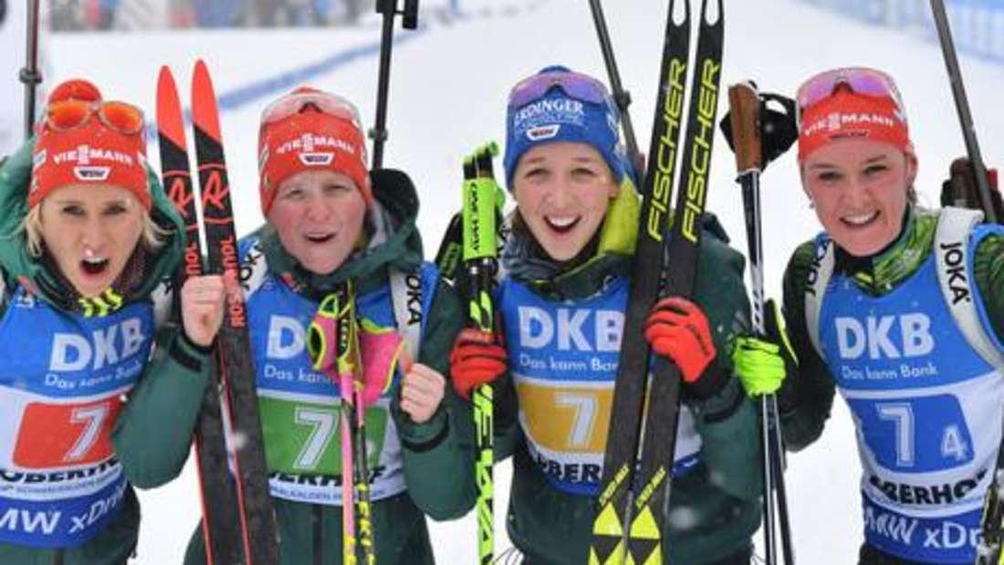 Biathlon: (von links) Karolin Horchler, Franziska Hildebrand, Franziska Preuß und Denise Herrmann sind Teil des deutschen Kaders für den Weltcup 2019/20.