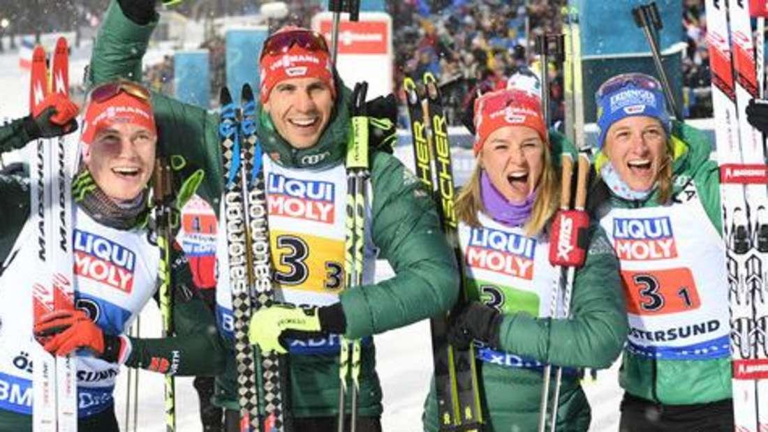 Biathlon: (von links): Benedikt Doll, Arnd Peiffer, Denise Herrmann und Vanessa Hinz sind Hoffnungsträger für den Weltcup 2019/20 im Biathlon.