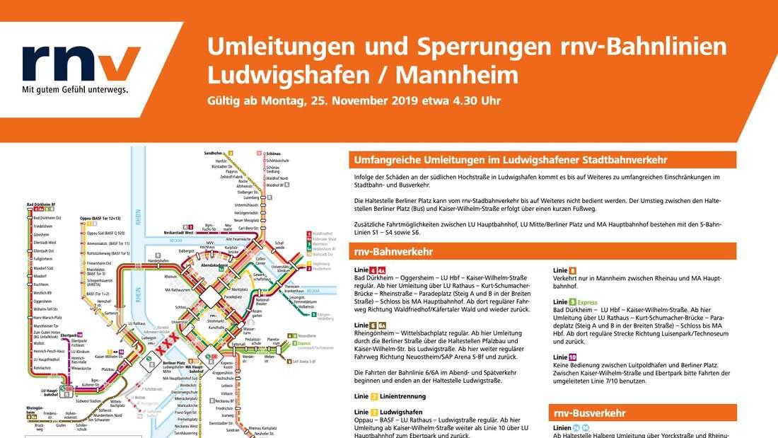 Umfangreiche Umleitungen im Ludwigshafener Stadtbahnverkehr – Übersichtsplan der rnv