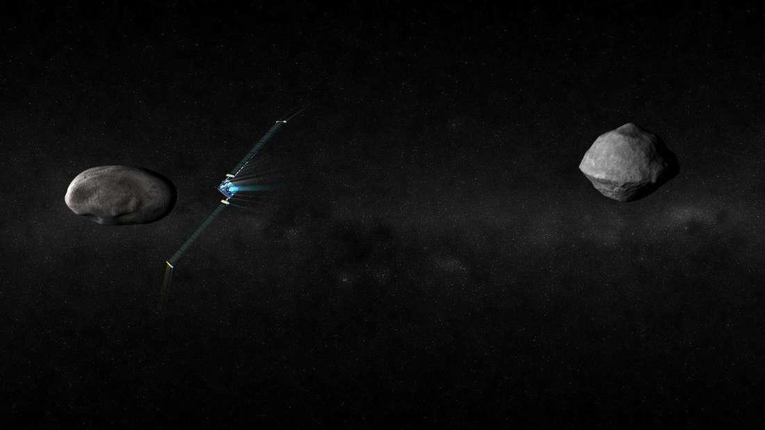 """Die Nasa-Raumsonde""""DART"""" soll in den kleinen Asteroiden""""Didymoon"""", der den größeren Asteroiden""""Didymos"""" umkreist, einschlagen und so seine Bahn verändern. Die europäische Raumsonde""""Hera"""" soll das Ergebnis untersuchen: Den Einschlagskrater und die neue Flugbahn."""