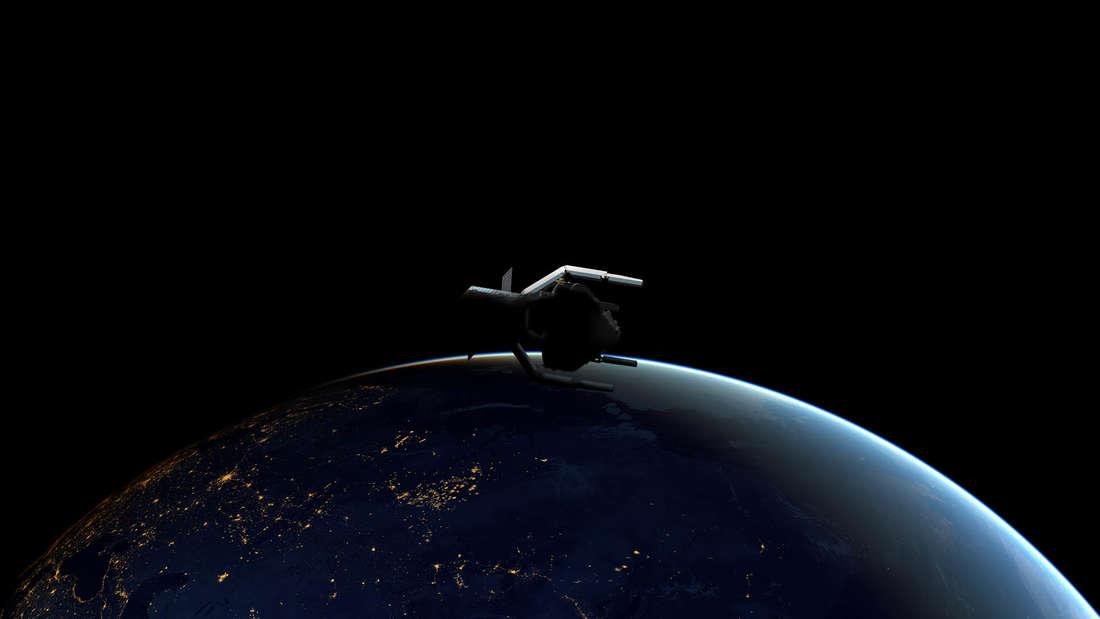"""Die """"ClearSpace-1""""-Mission der Esa soll eine Raketenstufe, die inaktiv um die Erde kreist, einsammeln und entsorgen. So will man testen, wie man in Zukunft Weltraumschrott entsorgen kann."""