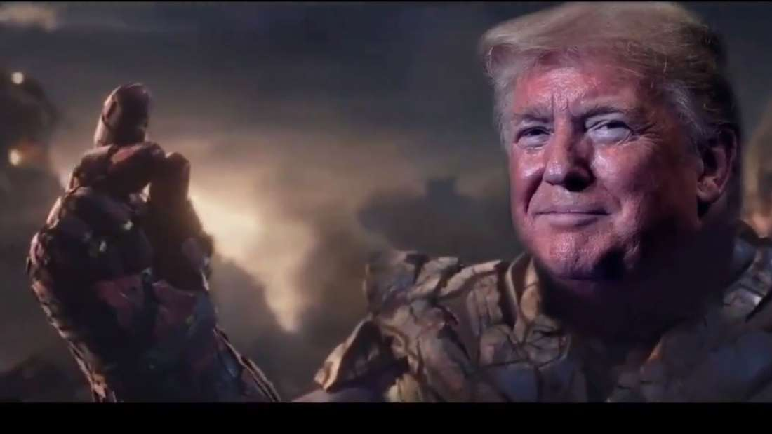 Donald Trump, hier in der Rolle des Comic-Massenmörders Thanos.