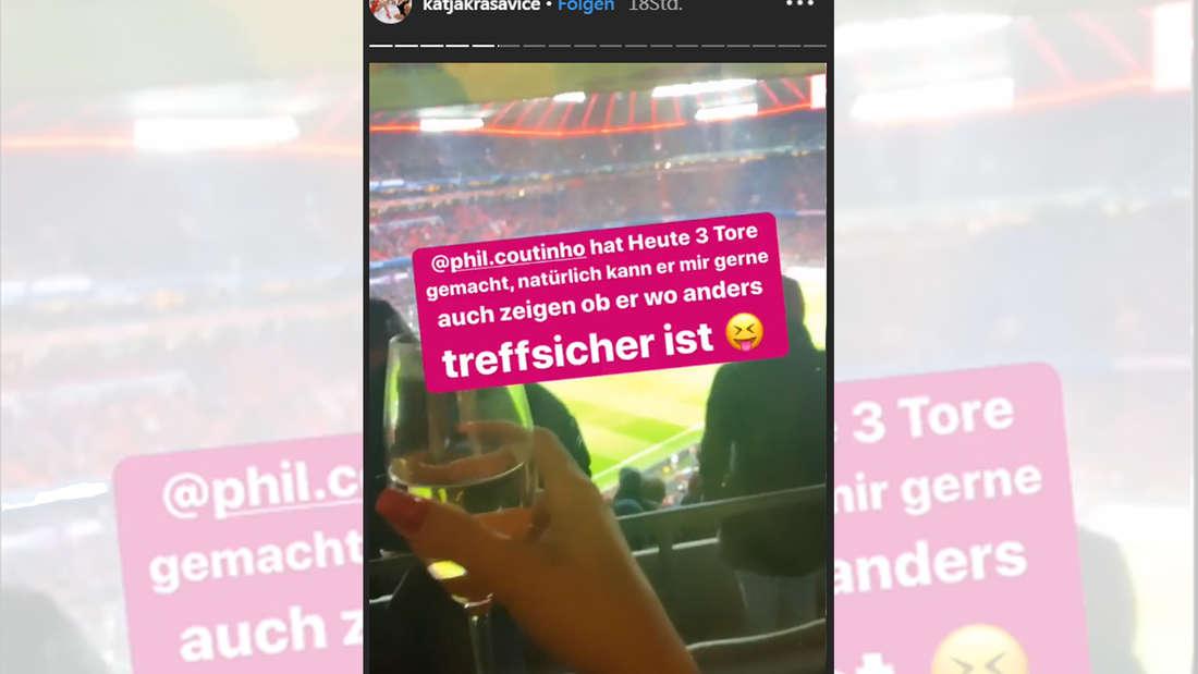In der Allianz Arena beim FC Bayern zu Gast: Schmuddel-Bloggerin Katja Krasavice.