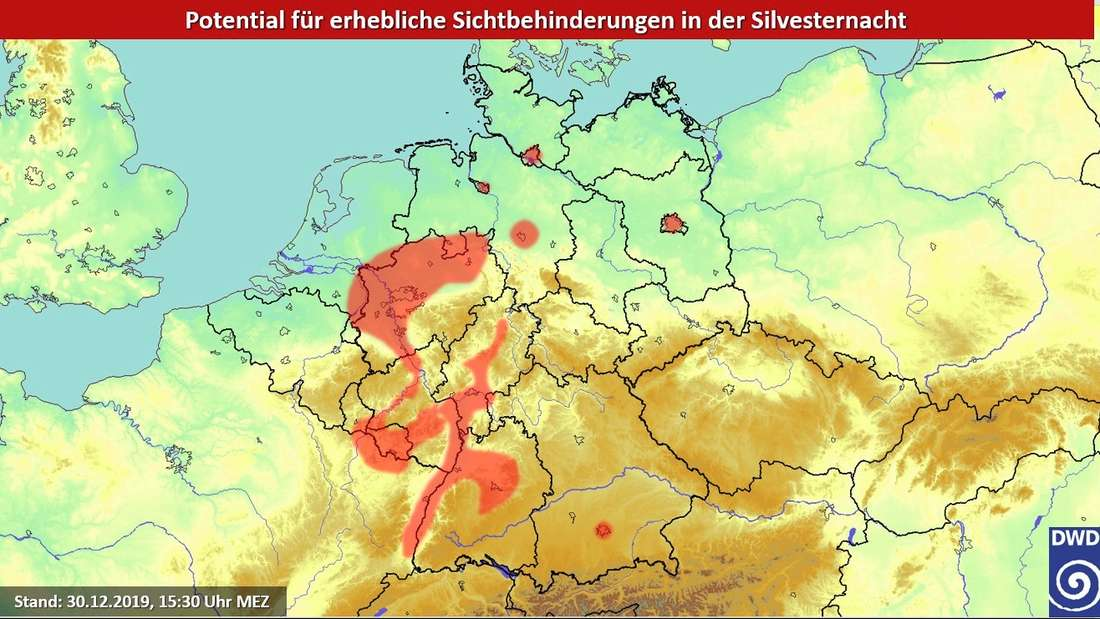 Nebel im West und Südwesten Deutschlands in der Silvesternacht.