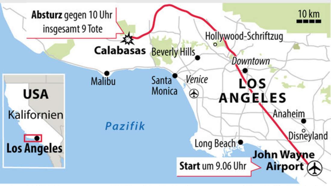 Der Hubschrauber stürzte westlich von Los Angeles ab.