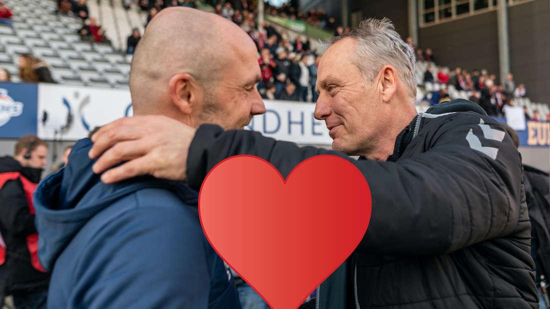 Hoffenheim-Trainer Alfred Schreuder (r.) mit Liebeserklärung an Freiburg-Coach Christian Streich (li.)