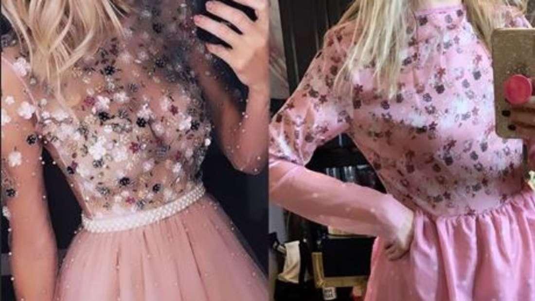 Links die Werbung, rechts die Realität. Man würde es kaum als das gleich Kleid erkennen.