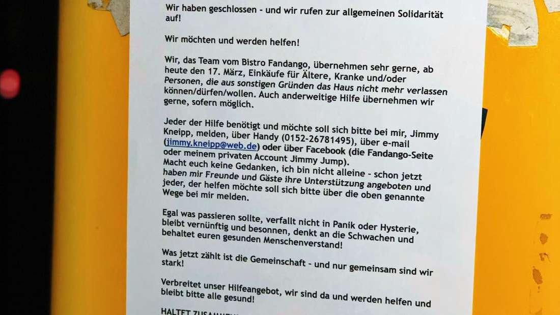Das Lokal Fandango in Rohrbach bietet Hilfe in Zeiten der Corona-Krise an.