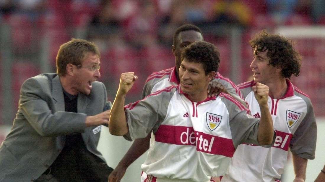 Ralf Rangnick (l.) als Trainer beim VfB Stuttgart.