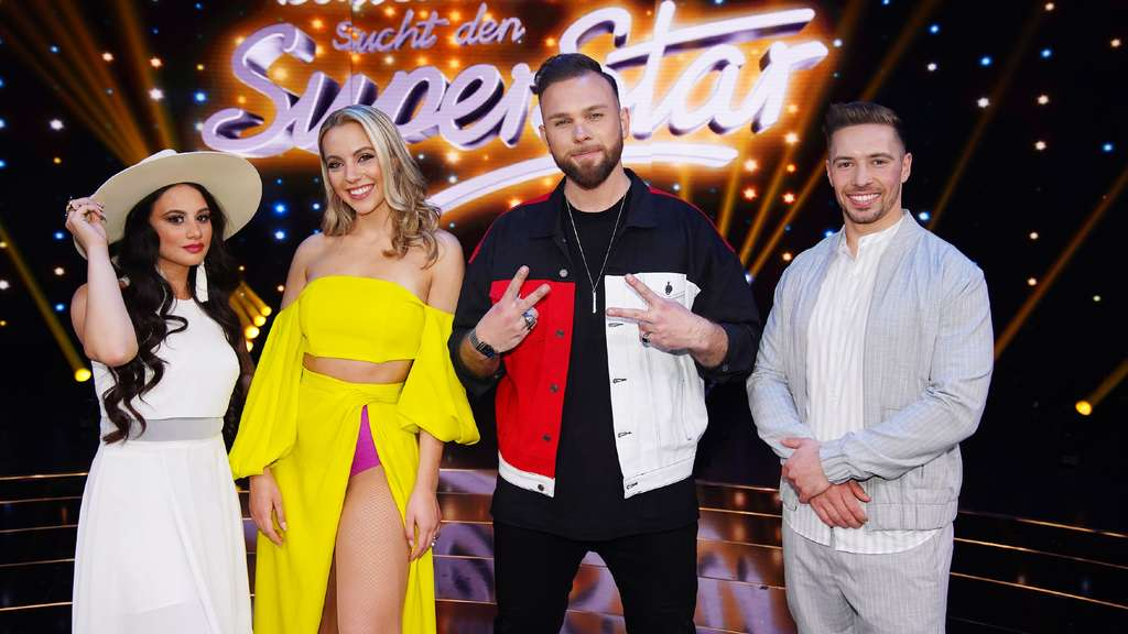 "Die vier ""DSDS""-Finalisten. V.l.: Chiara D'Amico, Paulina Wagner, Joshua Tappe und Ramon Kaselowsky-Roselly"