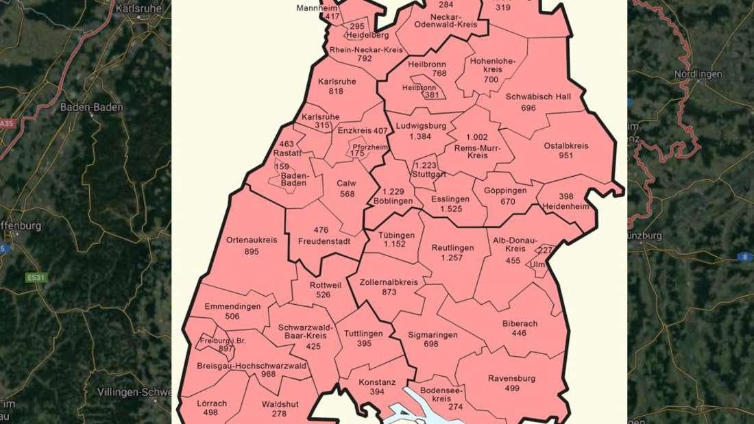 Die Ausbreitung des Coronavirus in Baden-Württemberg (Stand 19. April 2020)