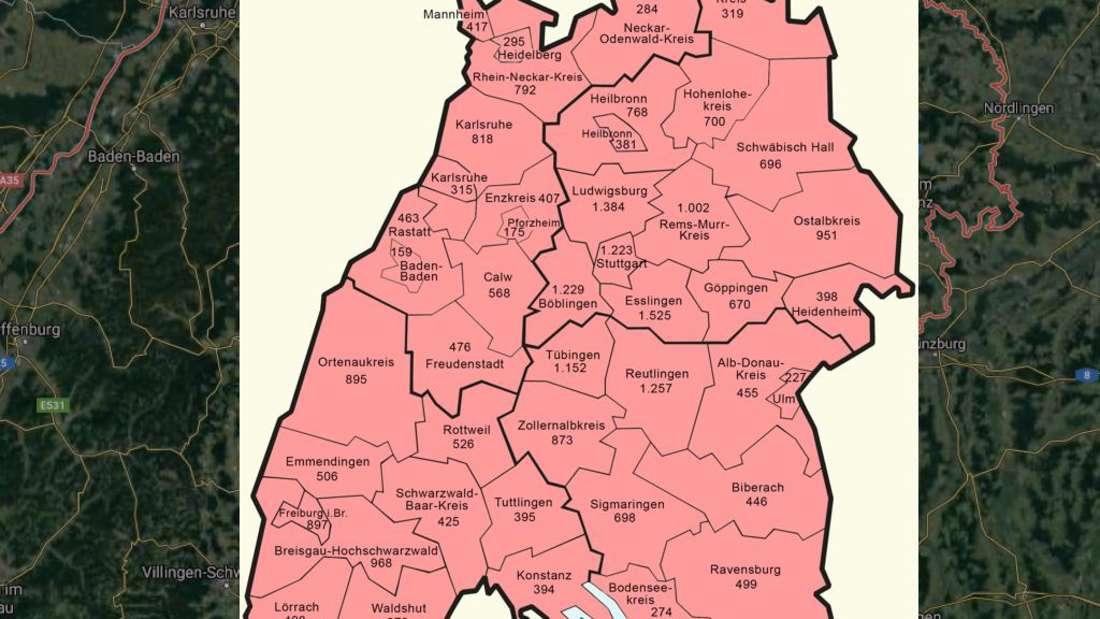 Die Ausbreitung des Coronavirus in Baden-Württemberg (Stand 20. April 2020)