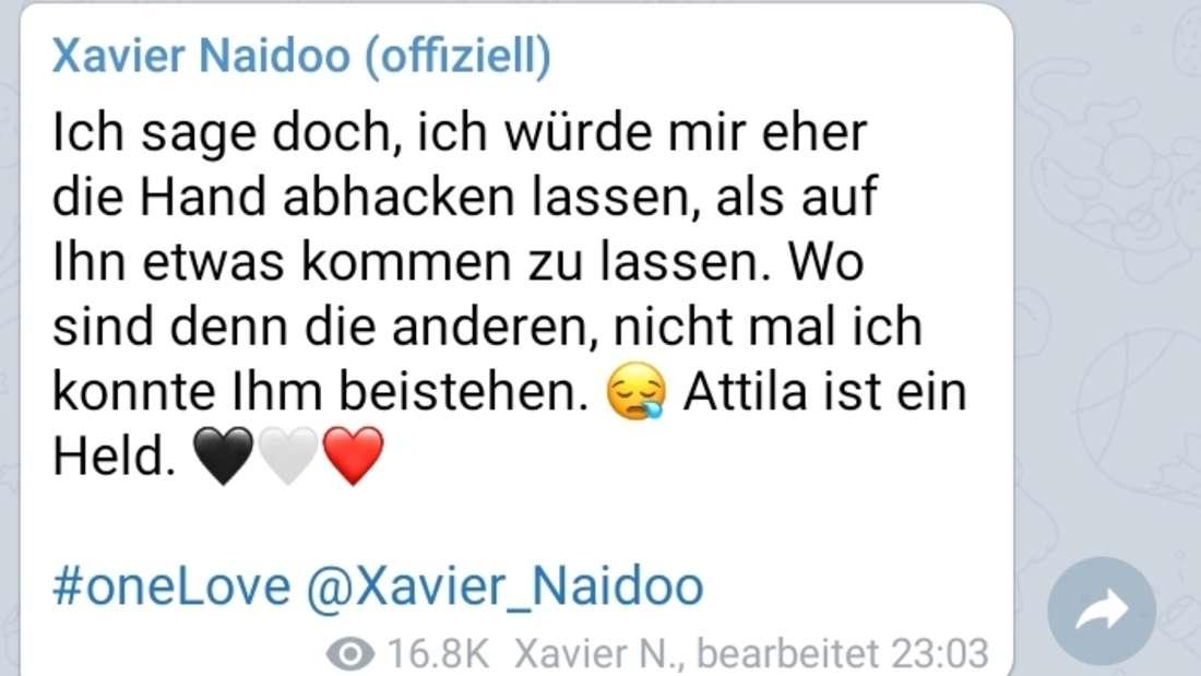Xavier Naidoo verteidigt Attila Hildmann nach dessen Verhaftung.