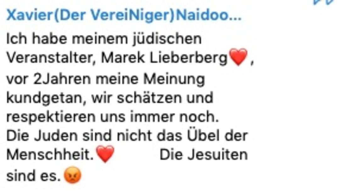Für Xavier Naidoo sind die Jesuiten an allem Schuld.