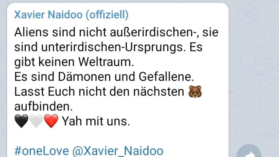 Xavier Naidoo glaubt an eine flache Erde und Aliens aus dem Untergrund.