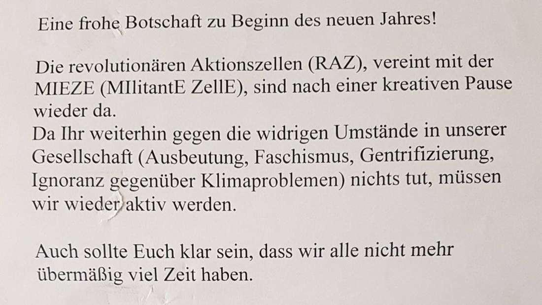 """Ausschnitt aus Drohbrief von """"MIEZE"""" und RAZ anJudith Skudelny - eine Gaspatrone ist beigefügt."""