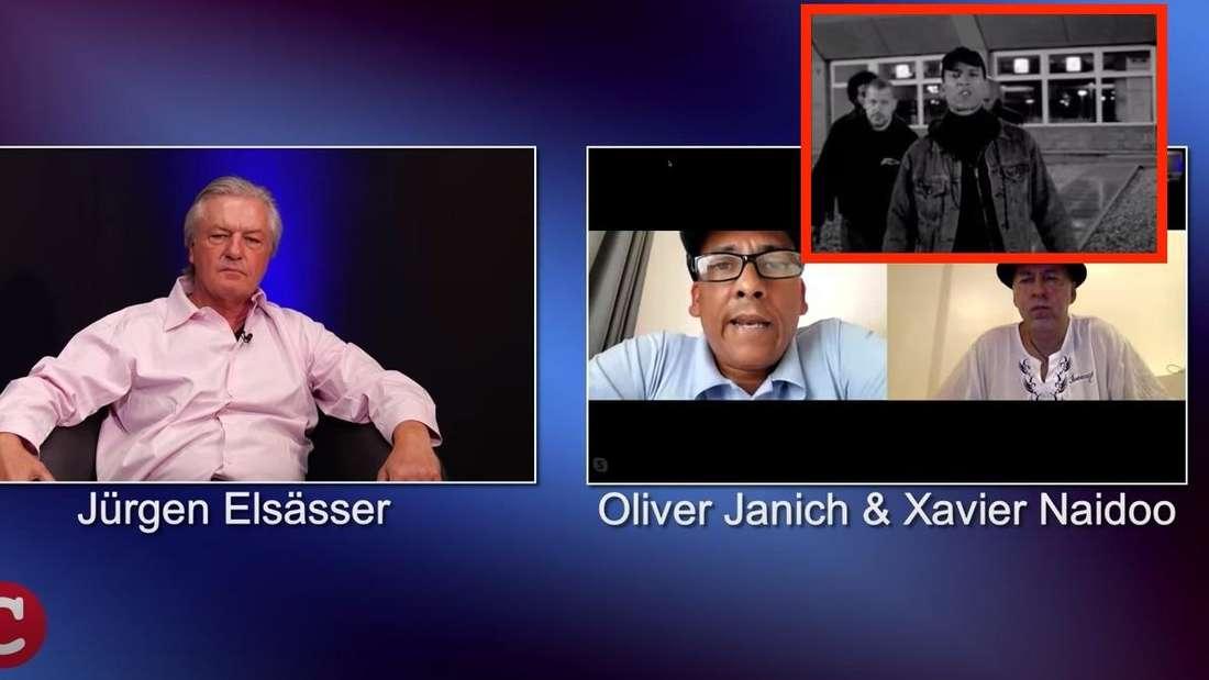 Xavier Naidoo, Oliver Janich und Jürgen Elsässer unterhalten sich.