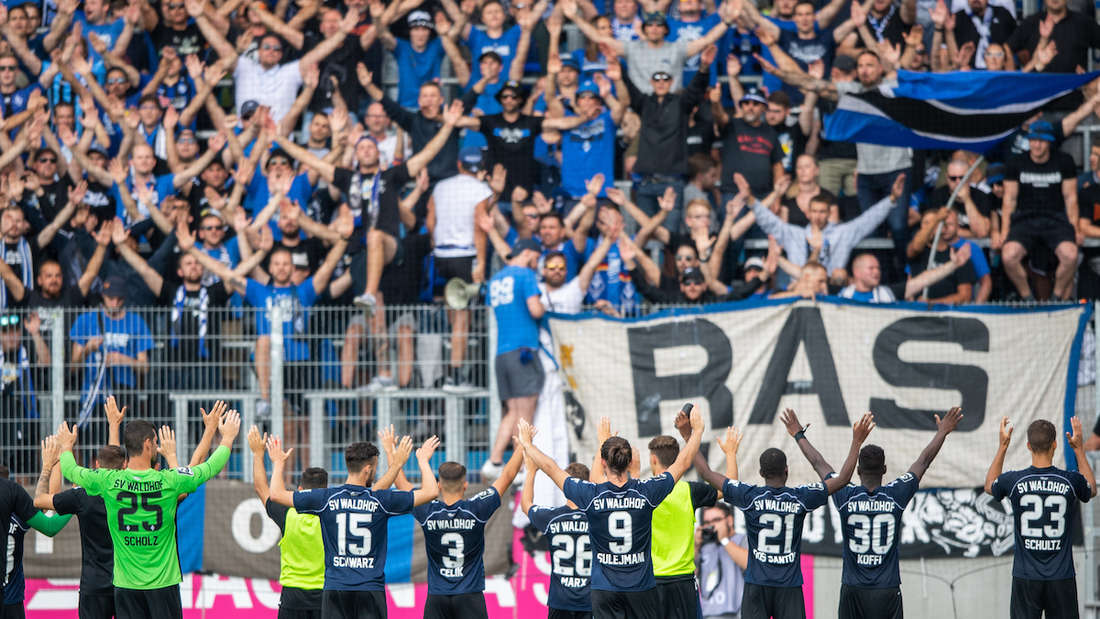 Die Spieler des SV Waldhof jubeln mit ihren Anhängern.