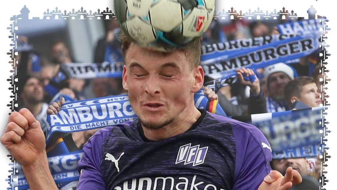 Moritz Heyer beim Kopfball mit zusammen gekniffenen Augen. Im Hintergrund sind Fans des HSV zu sehen, die ihre Schals hochhalten.
