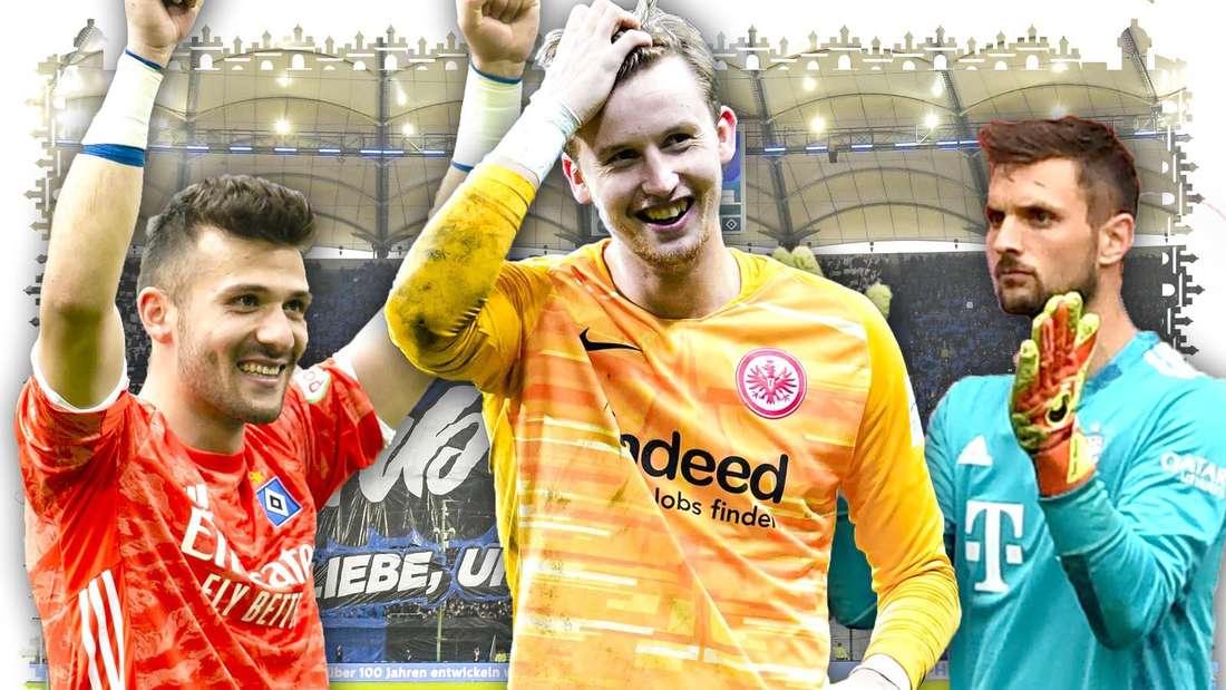Daniel Heuer Fernandes, Frederik Rönnow und Sven Ulreich stehen und freuen sich. Im Hintergrund ist die Fankurve des HSV zu sehen.