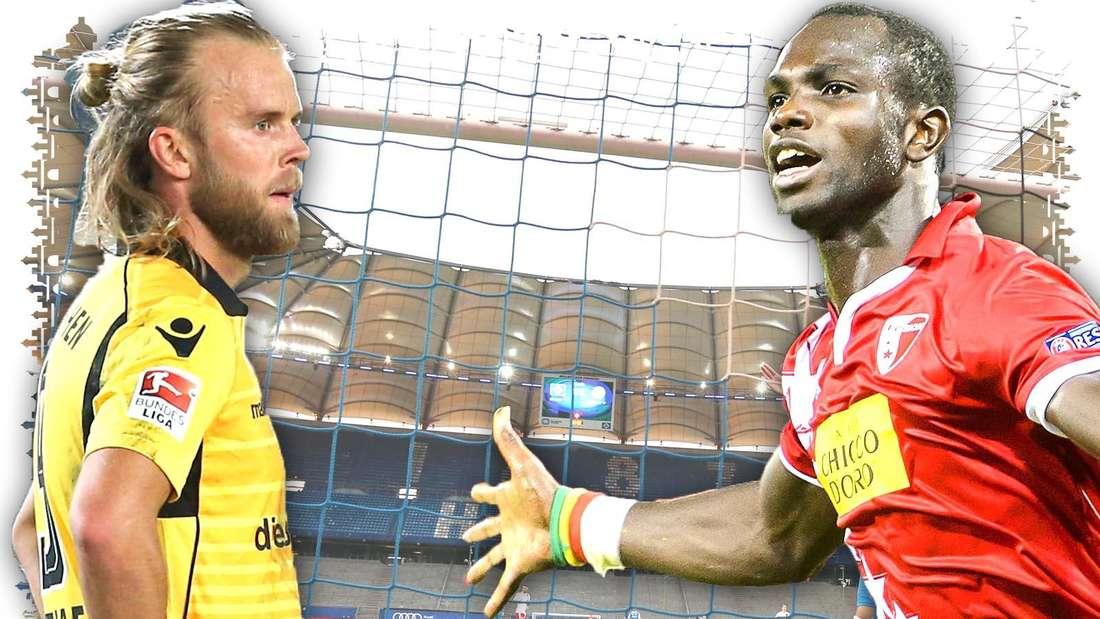 Christian Gytkjaer steht in einem gelben TSV 1860 München Trikot am linken Bildrand und schaut kritisch. Rechts jubelt Moussa Konate im roten Trikot des FC Sion über einen Treffer. Im Hintergrund ist ein Tor im Hamburger Volksparkstadion zu sehen.