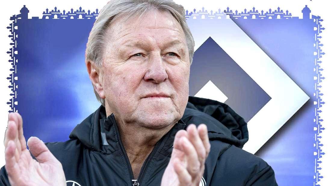 Horst Hrubesch klatscht. Er trägt eine schwarze Jacke des Deutschen Fußball-Bundes. Im Hintergrund ist die Raute des HSV zu sehen.