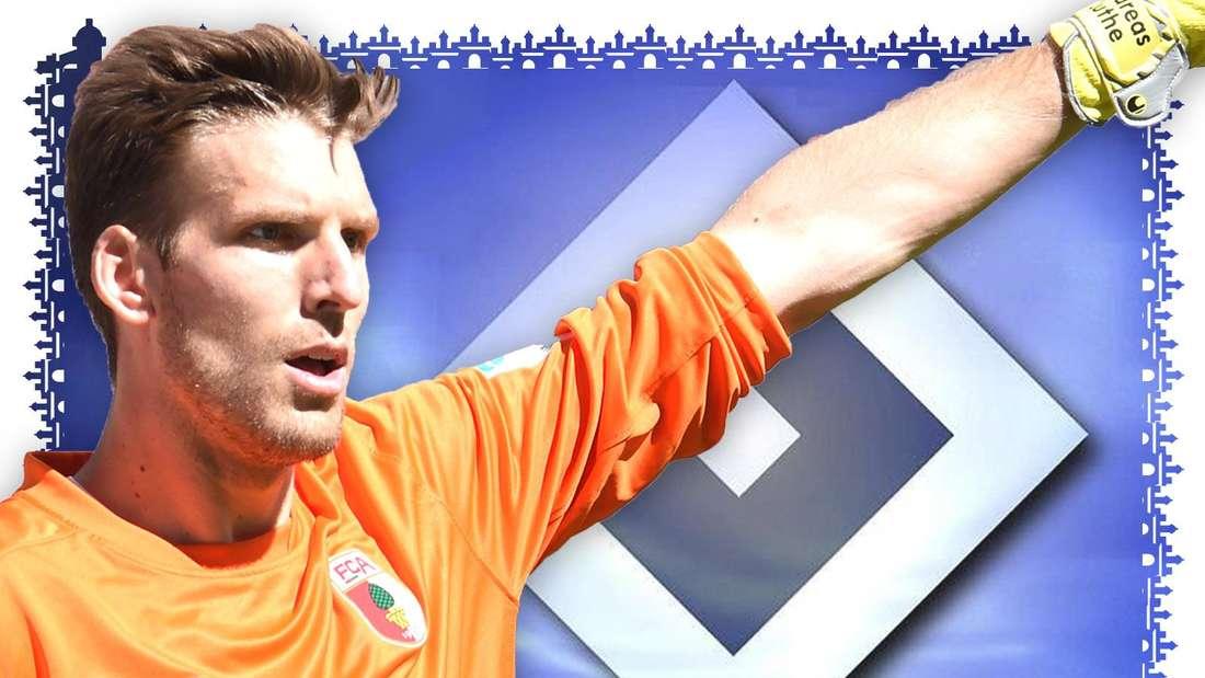 Andreas Luthe ruft Anweisungen über das Feld. Er trägt das orange Torhüter-Trikot des FC Augsburg. Im Hintergrund ist eine HSV-Raute zusehen.
