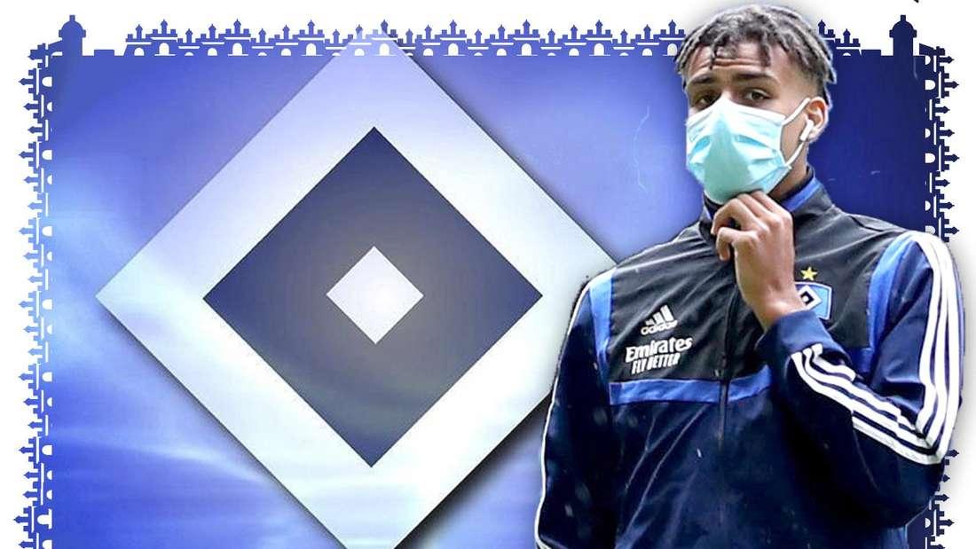 Josha Vagnoman geht am rechten Bildrand. Er trägt einen HSV-Trainingsanzug und einen Mund-Nase-Schutz. In der linken Bildhälfte ist die HSV-Raute zu sehen.