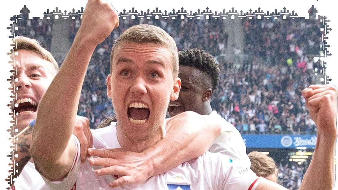 Luca Waldschmidt jubelt im Trikot des Hamburger SV über einen Treffer.