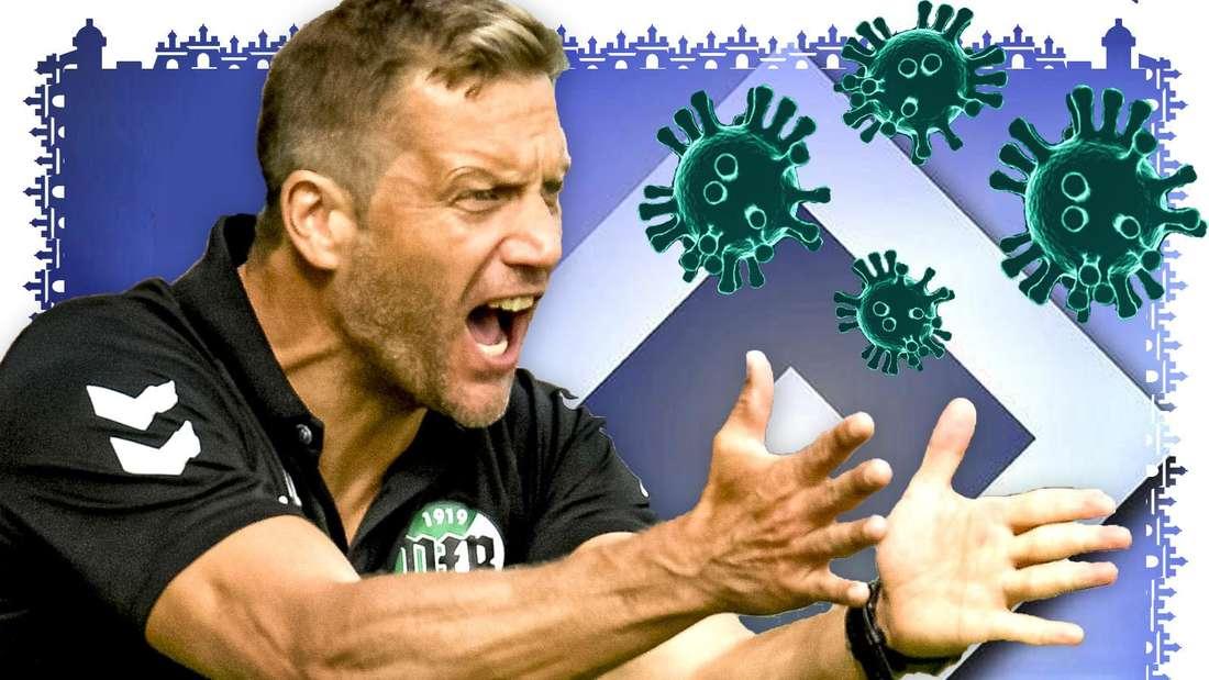 Rolf Martin Landerl, Trainer des VfB Lübeck gestikuliert wild. Dabei hat er beide Arme nach vorne von sich gestreckt. Vom rechten Bildeck fliegt das Coronavirus-Sars-CoV-2 auf ihn zu.