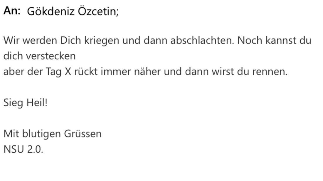 """Eine Drohmail mit dem Absender """"NSU 2.0"""", die Gökdeniz Özcetin erhalten hat."""